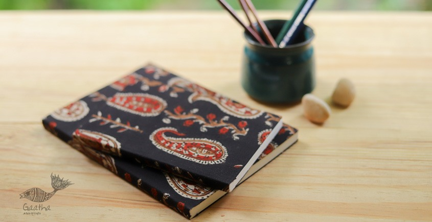 buy online Handmade Notebook / diary with Block print cotton fabric - plain pages