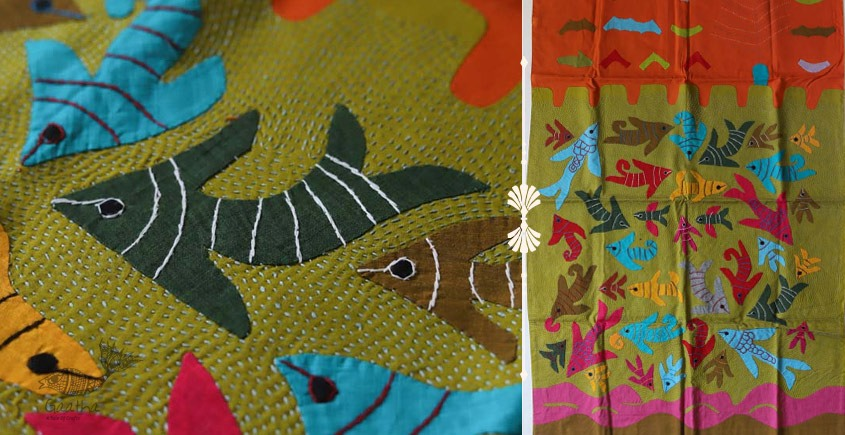shop Hand Embroidery and Applique Work Wall Piece - Fish