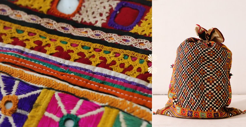 Rural trails ⁂ Kutchi Embroidered Dowry Bag ( 36 x 24 ) ⁂ 12