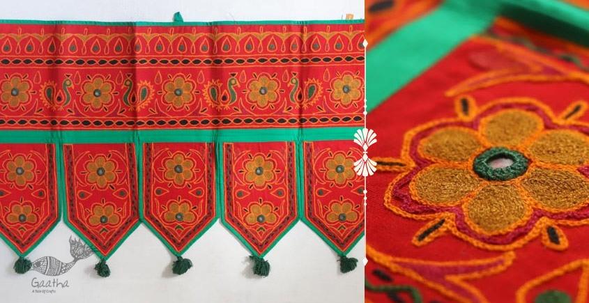 Rural trails ⁂ Kutchi Embroidered Toran ( 38 x 16 ) ⁂ 13
