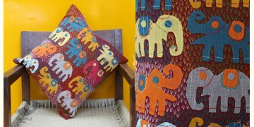 Cushioned Living ❦ Applique Cotton Cushion Cover ❦ Elephants - 2