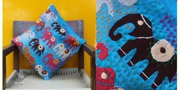 Cushioned Living ❦ Applique Cotton Cushion Cover ❦ Elephants - 4