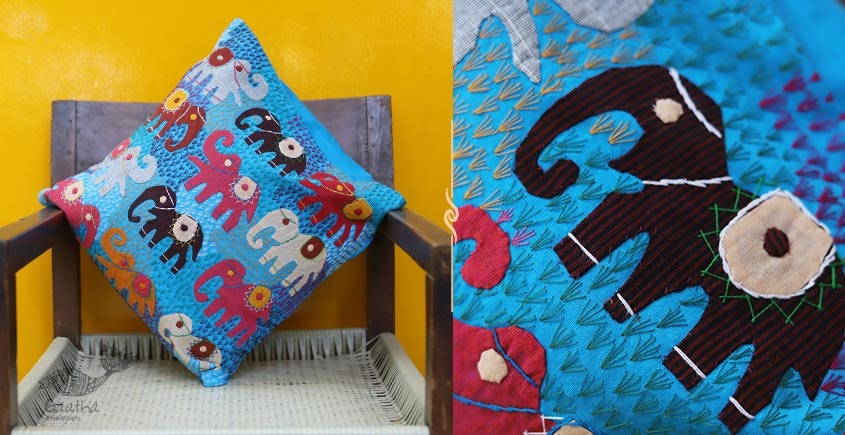 shop online Blue Colored Elephant motif Applique Work Cushion Covers