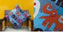 shop online embroidered and applique Cotton cushion cover - Blue