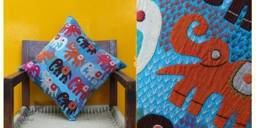 Cushioned Living ❦ Applique Cotton Cushion Cover ❦ Elephants - 7
