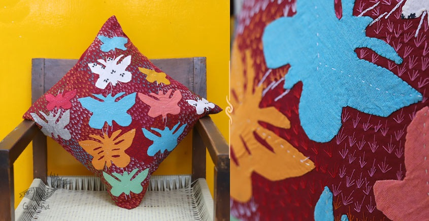 shop online Applique Work Brown Cushion Cover - Butterfly