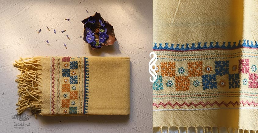 Aghan | अगहन ⁂ Bavaliyo Embroidery ⁂ Merino Wool Stole ⁂ 15