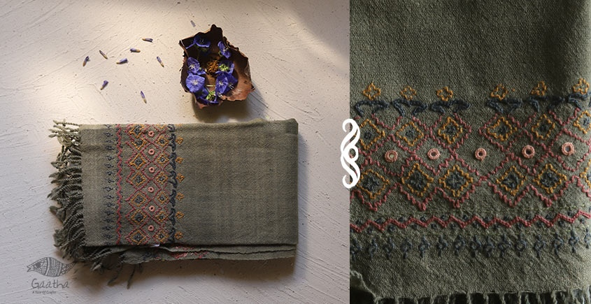 Aghan | अगहन ⁂ Khandhiro Embroidery ⁂ Merino Wool Stole ⁂ 7