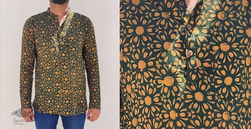 अमोल ● Handwoven | Dabu Printed ●  Cotton short kurta ● B