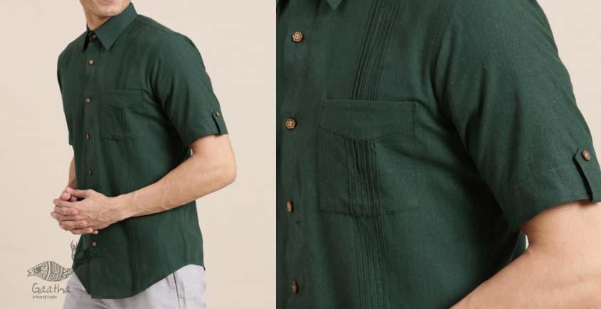 shop online Handwoven green cotton men shirt