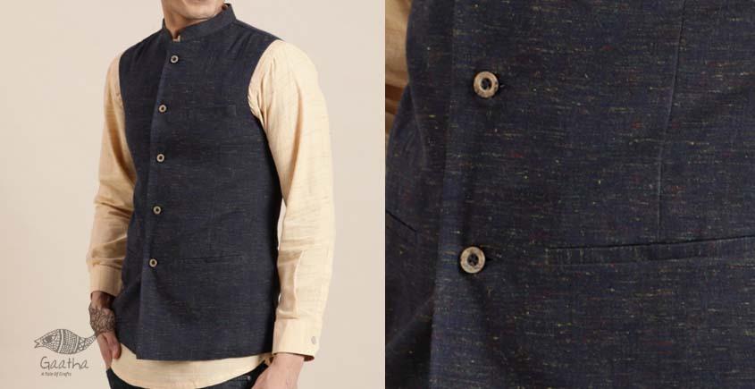 shop online Handwoven cotton men grey koti / jacket