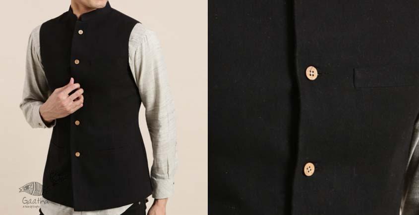 shop online Handwoven cotton men black sadri / jacket