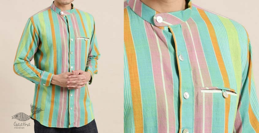 shop online Indian crafted Handwoven cotton men shirt