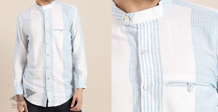 shop online Handwoven cotton men shirt with Chinese Collar