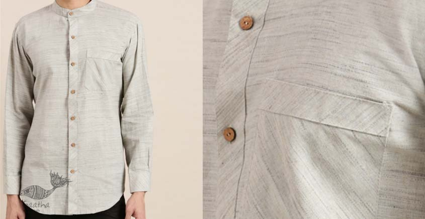 shop online Handwoven off white cotton men shirt 8