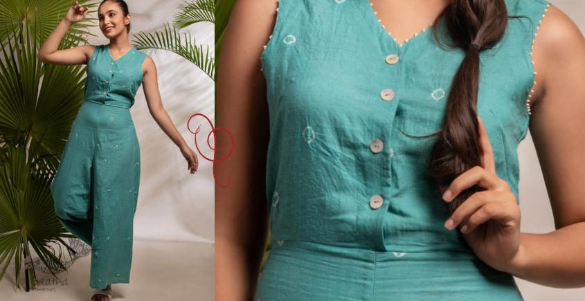 tie & dyed Handwoven Cotton Jumpsuit - Handwoven Cotton