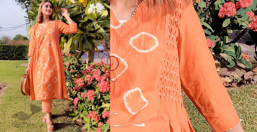 tie & dyed Kurti with pant - Handwoven Cotton