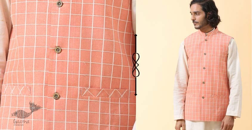 shop online Handwoven cotton brown men sadri / jacket