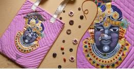 बहार ❣ Handwoven Cotton ❣ Pichwai Painted Handbag ❣ Shreenathji (Pink) ~ 13