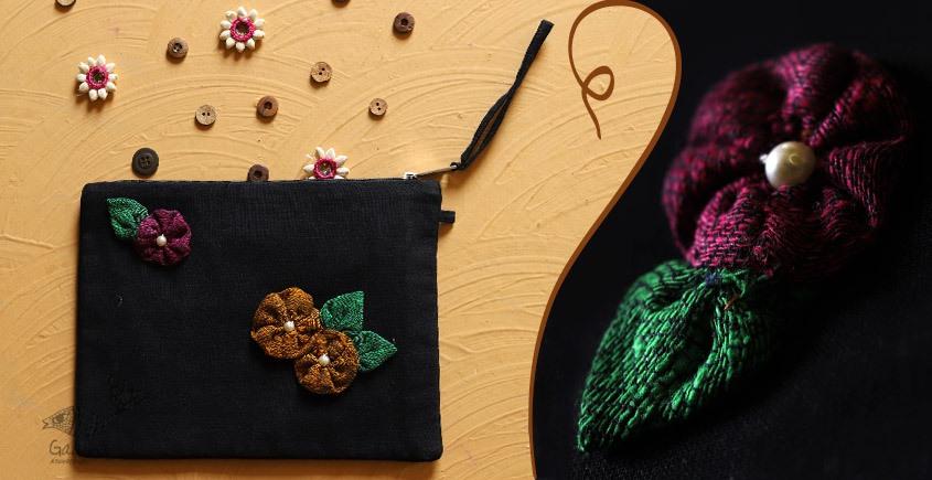 बहार ❣ Handwoven Cotton ❣ Black Floral Pouch ❣ 6