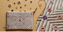 बहार ❣ Handwoven Cotton ❣ Mirror work Pouch ❣ 8