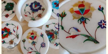 तराश ☘ Pacchikari (Inlay) Marble Coaster Set ☘ 38