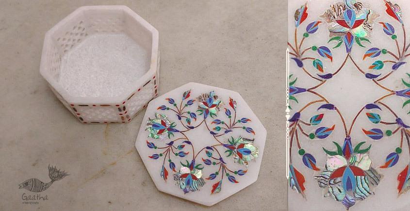 तराश ☘ Pacchikari (Inlay) Marbel Octagon Jali Box ☘ 6