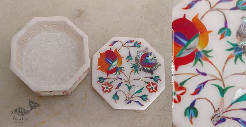 तराश ☘ Pacchikari (Inlay) Marbel Octagon Jali Box ☘ 9