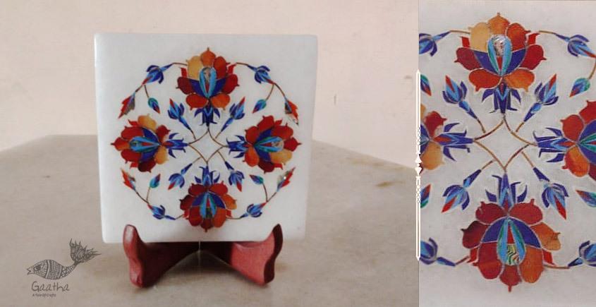 तराश ☘ Pacchikari (Inlay) Marbel Square Plate ☘ 17