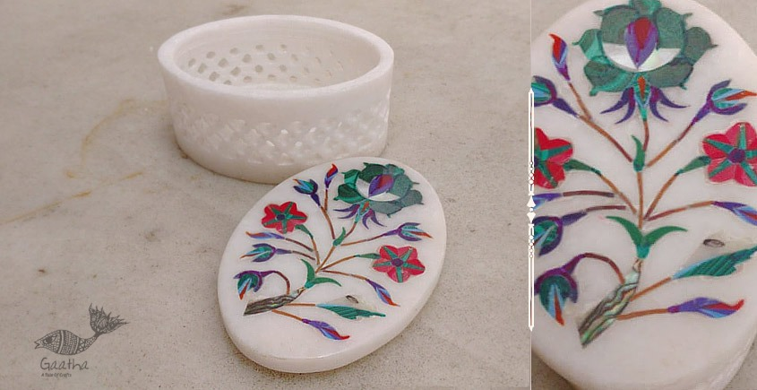 buy online marble products - a precious gift  Oval Jali Box