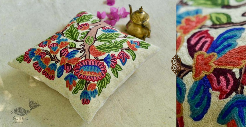 गुल ✩ Kashmiri Ari Embroidery Cushion Cover (16 x 16) ✩ 19
