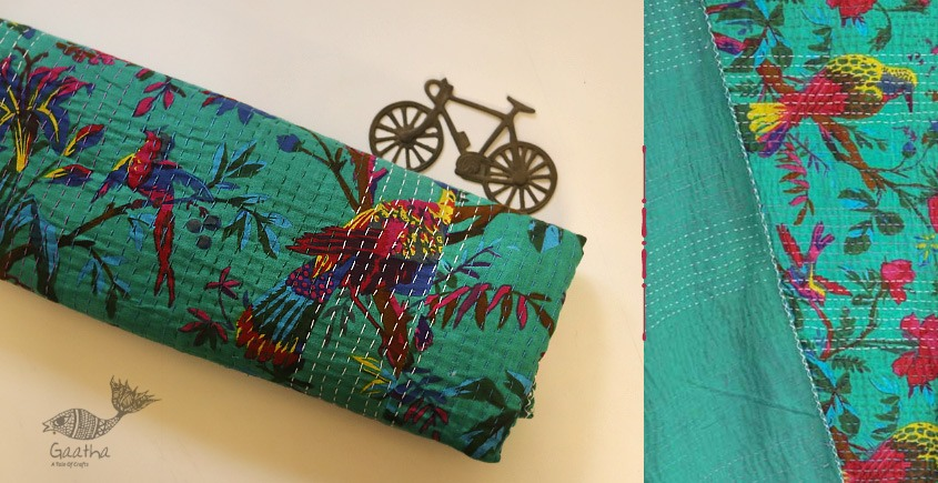 buy online Embroidered Cotton Bedspread - Handmade Flower and Bird Motif in green color