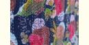 buy online Embroidered Cotton Bedspread - Handmade Flower printed in dark blue