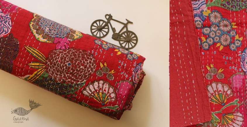 buy online Embroidered Cotton Bedspread - Handmade Flower print bed spread in red color