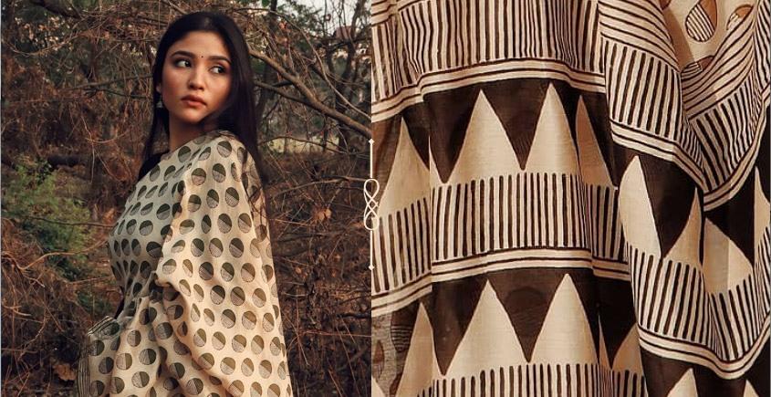 Kamya . काम्या ✽ Handloom Bagru Silk Cotton Saree - 31