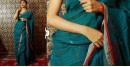 Shop jamdani linen saree in Teal green color