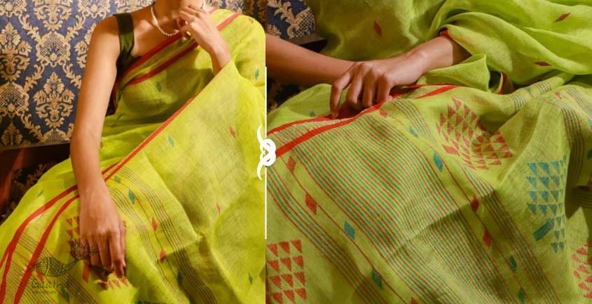 Shop jamdani linen saree in parrot green color