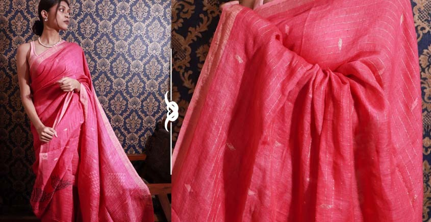 Shop jamdani linen saree in pink color