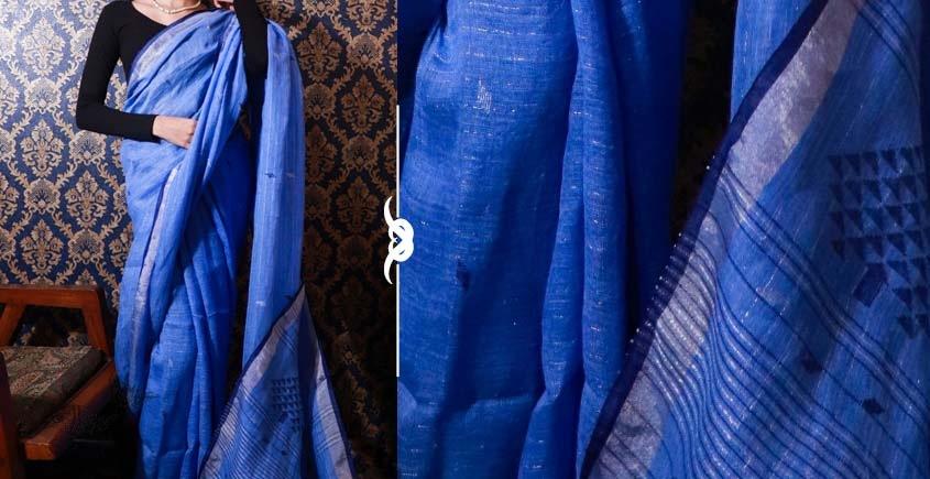 Shop jamdani linen saree in Purple color