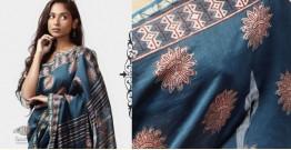 Kamya . काम्या ✽ Cotton Silk Dabu & Pharad Block Printed Indigo Saree - 42