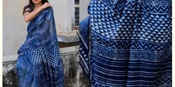 Kamya . काम्या ✽ Cotton Silk Dabu & Pharad Block Printed Indigo Saree - 45