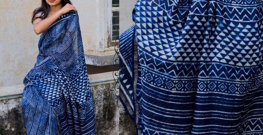 dabu block printed cotton silk indigo saree
