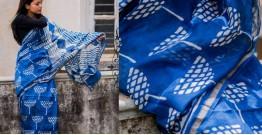 Kamya . काम्या ✽ Cotton Silk Dabu & Pharad Block Printed Indigo Saree - 46