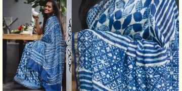 Kamya . काम्या ✽ Cotton Silk Dabu & Pharad Block Printed Indigo Saree - 48