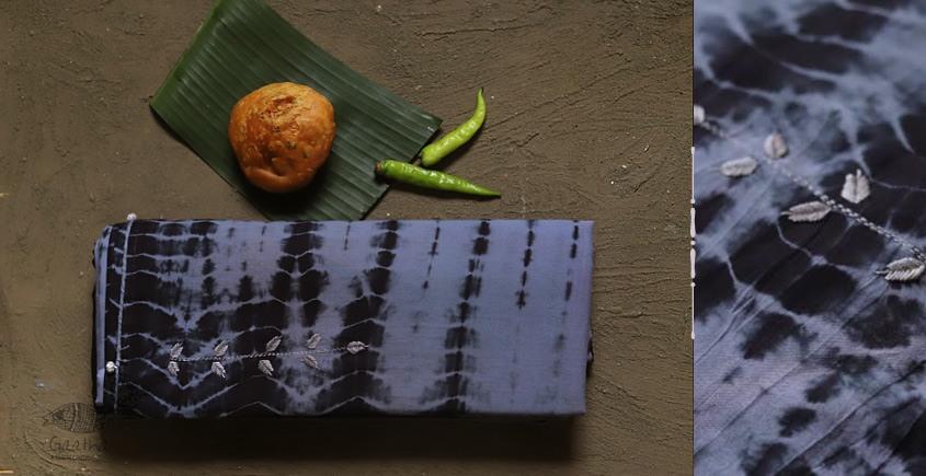 pure cotton Shibori saree with hand Embroidery - gray and black