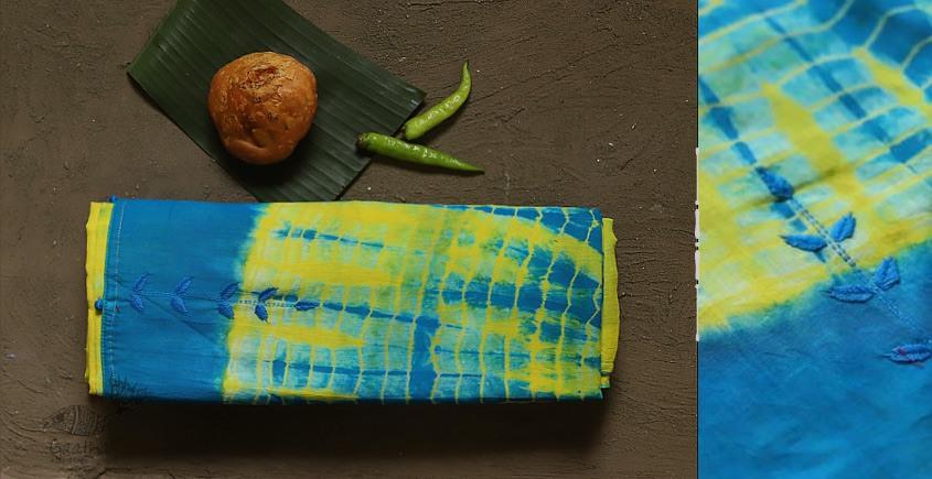 pure cotton Shibori saree with hand Embroidery