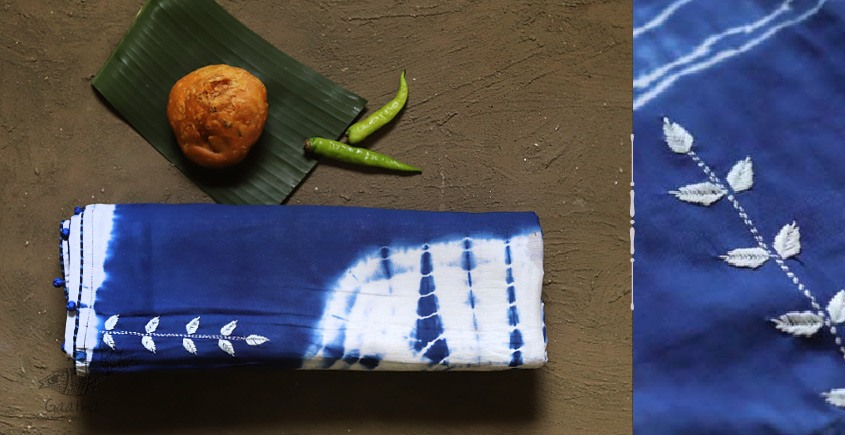 pure cotton Shibori saree with hand Embroidery in blue and white color combination