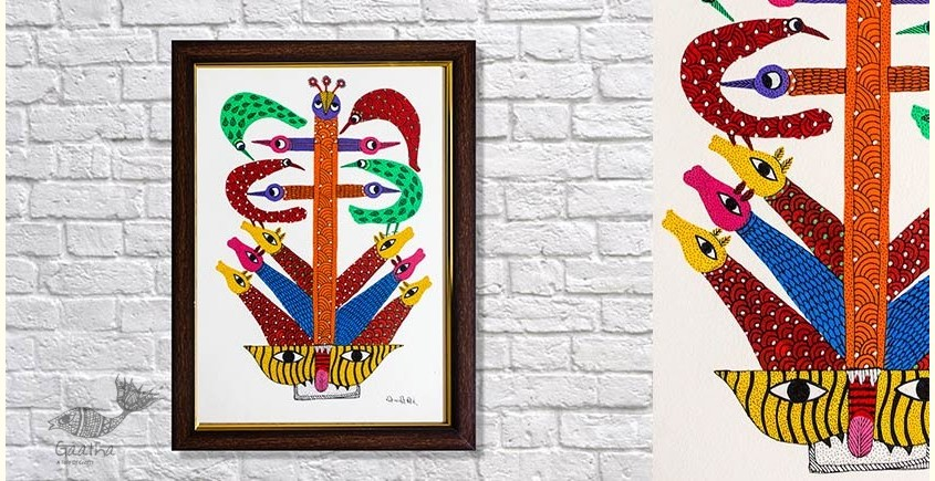 Gond Folk & Tribal Art Painting ( 25cm x 35cm )   5