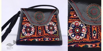 Be Nomadic | Kutchi Leather Handbag With Rabari Embroidery - 5