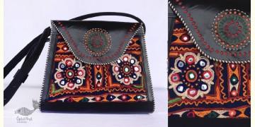 Be Nomadic | Kutchi Leather Handbag With Rabari Embroidery - 5